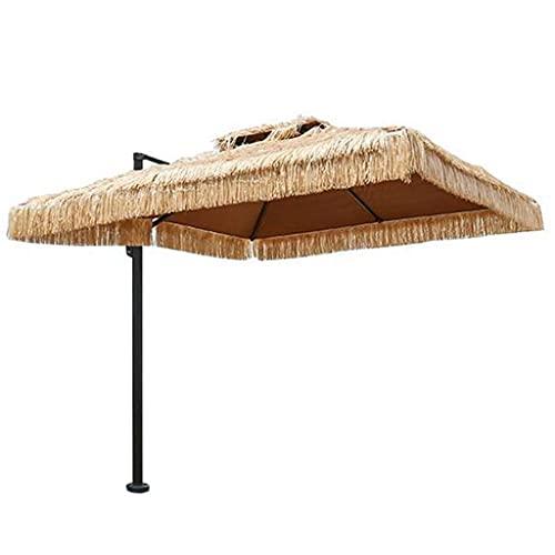 Bktmen Paraguas de la sombrilla de la Paja de Doble Techo, Impermeable con Aislamiento térmico a Prueba de Agua 250 cm Parasol de Paja, Piscina de jardín Patio Raffia Stebra Paraguas