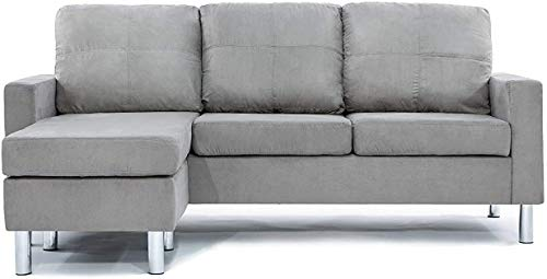 Convertible Sectional Sofa Couch with Reversible Chaise, L-Shaped Couch with Modern Linen Fabric for...