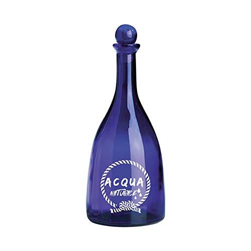 BrandPrint Bottiglia in Vetro Blu per Acqua Modello Viola 750 Ml Serigrafata Naturale con Tappo a Sfera Blu