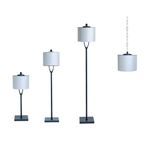 Light Your Patio LED Rechargeable Dimmable Cordless Table Lamp, Floor Lamp, Hanging Lamp Combination Indoor / Outdoor IP65 Rated Sunbrella Shade, Heavy Weighted Base Black Finish