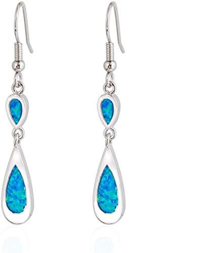 JIALI Created Blue Fire Opal Gemstone Earrings Charm Sterling Silver Double Teardrop Shape Long Dangle Hook Earrings Jewelry Women Girl