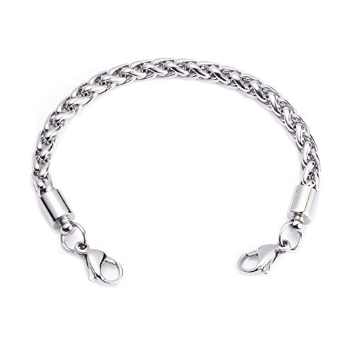 LinnaLove-Stainless Steel Wheat Chain Interchangeable Bracelets-Match Medical id tag(CK02-7)