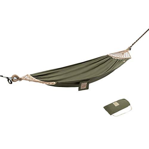 ZYM Hamaca de Acampar Anti-Rollover de 550 Libras, hamacas de Lona de un Solo portátil para Patio al Aire Libre. (Color : Green, tamaño : 300X90cm)