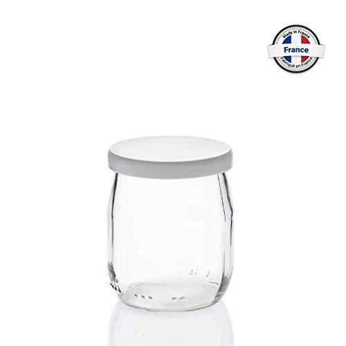 Rekean - Tarro de Yogur de Vidrio con Tapas Blancas - Lote de 12 - de fabricación Francesa - Capacidad 143 ML