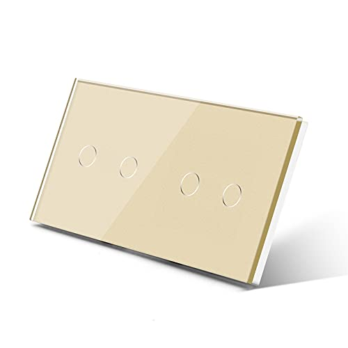 NGHSDO Interruptor Tactil 4 Gang 1 Way Wall Touch Switch Double 2gang Light Switch Blanco Negro Black Goldenclass Panel Impermeable Switch Lightlight Interruptor Inteligente (Color : Golden)
