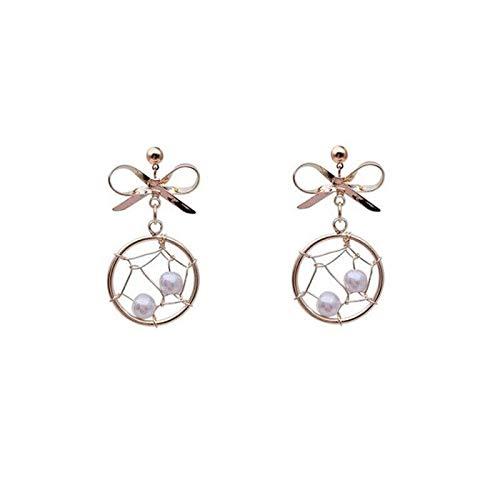 S925 Aguja de plata Atrapasueños Anillo Bowknot Pendientes de perlas Pendientes de pendiente de temperamento de viento dulce y frío Mujeres