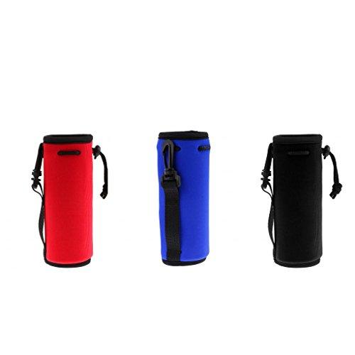 MagiDeal 3x Néoprène Sport Bouteille D'eau Couverture Poche Pochette Sac Noir Bleu Rouge