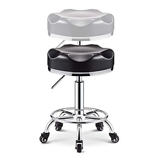 Sgabello Da Massaggio Per Salone Sgabello Rotante Per Sedia, Funzionante Con Ruote Rotonde Con 5 Ruote Sedie Da Officina Regolabile Comodo Poggiapiedi Alto High
