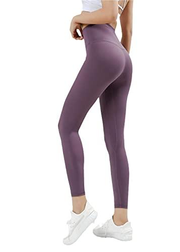 Mallas Deportivas Tummy Control,Pantalones de Yoga de Pulido de Doble Cara Nueve Pantalones Mujeres, Caderas de Cintura Alta Abdomen Aptitud Pantalones-Iris_Metro