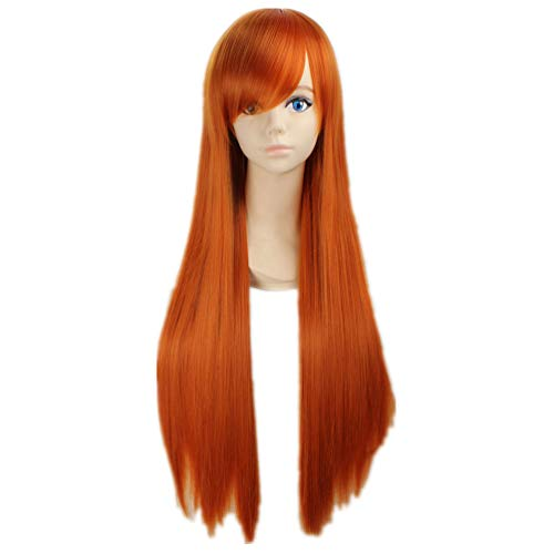 COSPLAZA Cosplay Kostueme Peruecke Bleach Orihime Inoue gerade lang Orange Anime Haar