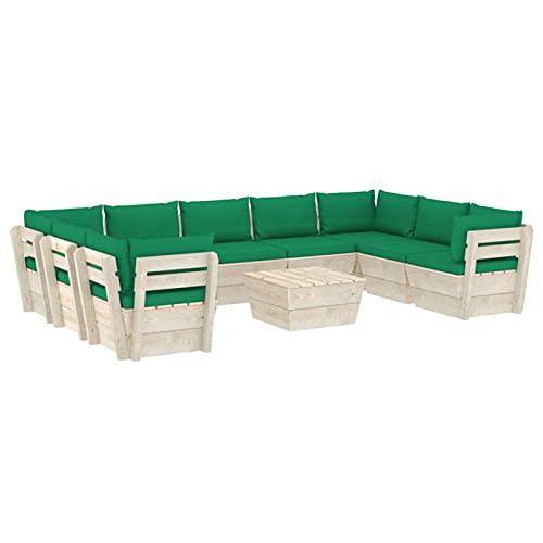 Tidyard Muebles de Jardín de Palets 10 Piezas y Cojines Verde Sofá Palet y Mesa de Centro Exterior Patio Sofá Central de Palets de Jardín Madera de Abeto