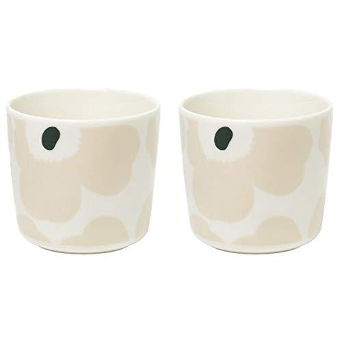 Marimekko - Becher ohne Henkel - Unikko - Porzellan - Weiß-Beige-Dunkelgrün - 2er Set