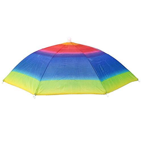 Sombreros de pesca de color plegable Sombrero de paraguas colorido para la pesca al aire libre Trabajando en el jardín en la playa (paraguas de arco iris)