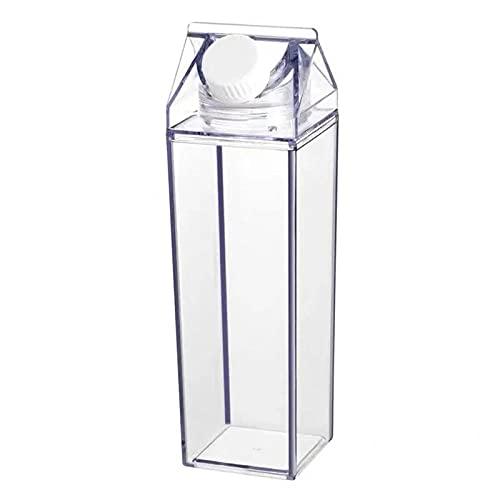 SDGSDG Protección del medio ambiente Botella deportiva sin BPA/Caja de leche cuadrada-Transparent_500ml/ Botella de agua deportiva para gimnasio, viajes, oficina y hogar
