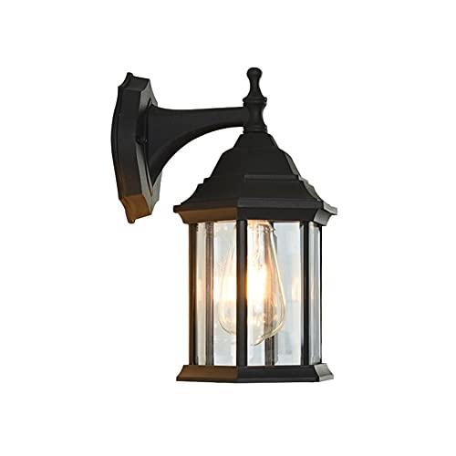 YBright Linterna industrial tradicional Linterna negra Lámpara de pared al aire libre 30 cm Montado en la pared Luz exterior impermeable Metal House Sconce para el pórtico Garaje Frontal Patio Ilumina