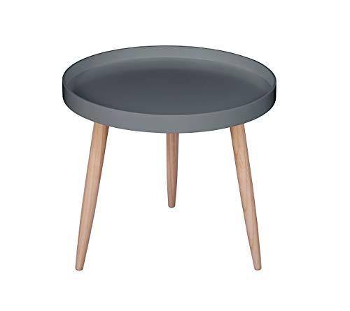 AspePietà rond houten zijde/lamp/salontafel, hout, grijs, 50 x 50 x 45 cm