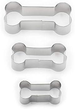 Fox Run Dog Bone Cookie Cutter Set Stainless Steel 3-Piece