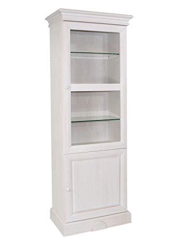 casamia Vitrine Glas-Vitrine Standvitrine rechts 2-türig Terrano 1 Wellenprofil Pinie massiv weiß gekälkt Farbe Pinie weiß gekälkt