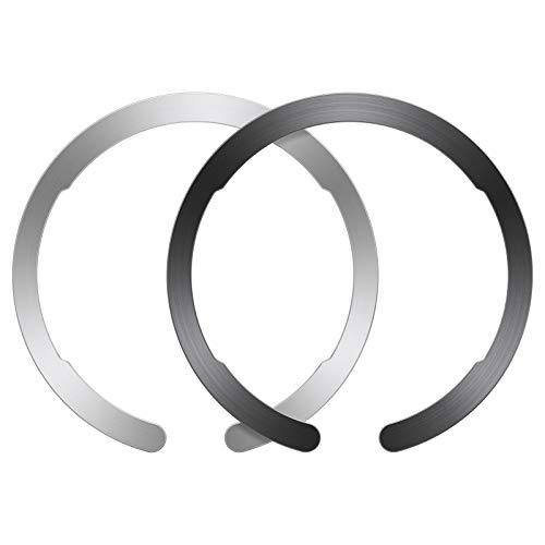 ESR Anello MagSafe,Kit di Conversione della Ricarica Caricatore Wireless Magnetica,Anello Universale HaloLock, Compatibile con iPhone 12/12 Pro/12 mini/12 PRO Max/MagSafe e S21/S21+(1 Nero, 1 Argento)