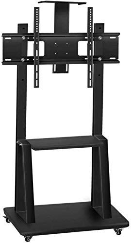 N/Z Inicio Equipo Mesa giratoria Soporte para TV Soporte de Piso de Repuesto para TV de Acero Inoxidable para televisores de 40 65 Pulgadas Soporte de Piso para TV pequeño Negro con Ruedas CAS