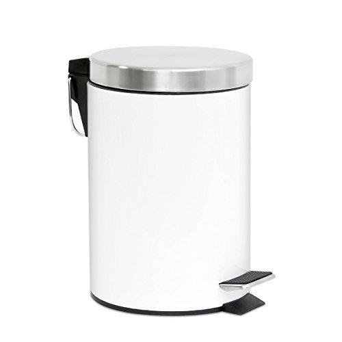 bremermann Cubo de Basura con Pedal, 3 litros, con Bajada automática (Blanco)