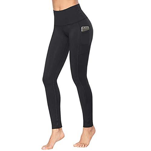 Hhwei Leggings Apretado Mujer Fitness Suaves Elásticos Cintura Alta para Reducir Vientre,Negro,L