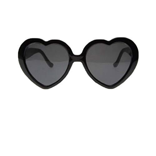 LUOEM 2Pc Lustige Brille Pfirsich Herz Spezialeffekt Brille Interessante Brille Lichtbeugungsbrille für Bar Nachtclub (Schwarz)