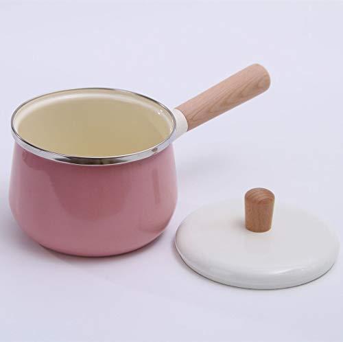 JMAHM - Pentola per latte, tè, caffè e uova, smaltata, antiaderente, con manico in legno, grande capacità con coperchio Pink Milk Pot