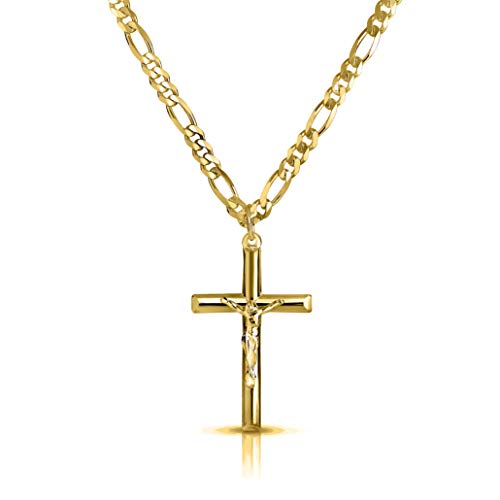 Verona Jewelers Men and Women 24' Stainless Steel 3.8MM Figaro Chain Necklace Crucifix Cross Pendant (Silver Color) (Gold)