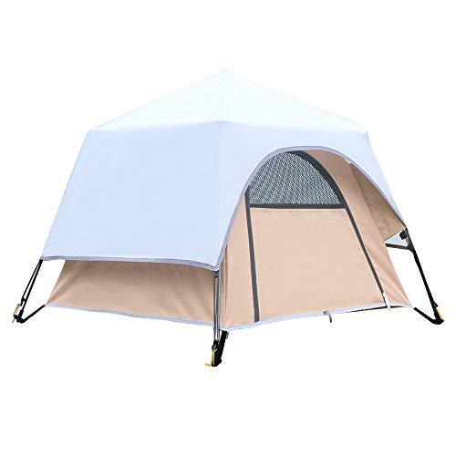 Yolafe Tragbares Haustierzelt Höhle Bett Laufstall Hundehütte mit innovativem Instant Setup Center Hub Design Ideal für Camping mit Katzen und Hunde, Large, braun