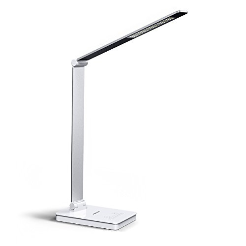LED Desk Table Lamp with USB Charging Port, POWERADD adjustable Light Modes and Brightness Levels, Aluminum Alloy Eye-Caring Desk Light Dimmable Office Lamp, Touch Control, Design for Reading Studying