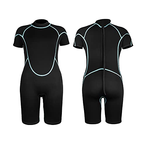 Greatever Kids Shorty Wetsuits, 3mm Neoprene Thermal Swimsuit Long Sleeve UV Protection for Boys Girls Youth Child Junior Swimming Snorkeling Scuba Diving Surfing