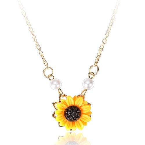 Makluce Inspirational Necklace, 2PCS Sunflower Pendant Necklace For Women You Are My Sunshine Pendant Jewelry Gifts For Birthday Christmas Valentines Day (Length : 2PCS)