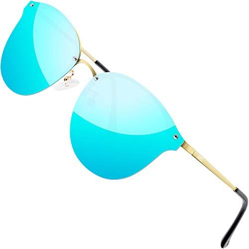 ATTCL Randlos Vintage Polarisierte Sonnenbrille Damen UV400 Schutz Ultraleicht Rahmen 1155 Blue