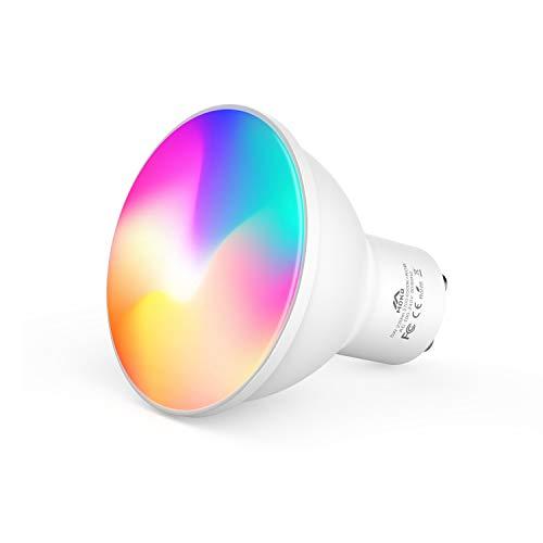 MoKo Smart WLAN LED Lampe, GU10 5W WiFi Dimmbar Spots Glühbirne Reflektorlampe Mehrfarbig RGB+Weiß Licht, Farbwechsel Birne APP und Sprachsteuerung, Kompatibel mit Alexa Echo Google Home SmartThings