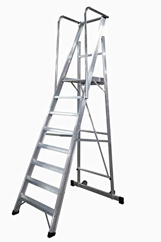 Escalera plegable con plataforma y guardacuerpos 8 peldaños móvil profesional serie 2xl