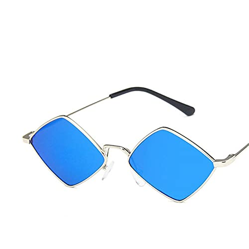 Astemdhj Gafas de Sol Sunglasses Gafas De Sol Retro para Mujer Gafas De Sol De Lujo para Mujer Gafas De Sol Vintage para Mujer Pequeñas Plata AzulAnti-UV