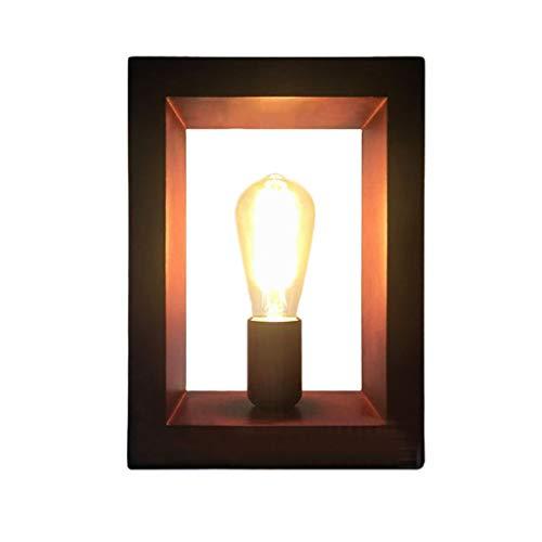 WPCBAA Creatieve retro houten tafellamp E27 persoonlijk geschenk licht, rechthoekig design woonkamer slaapkamer restaurant kunst verlichting