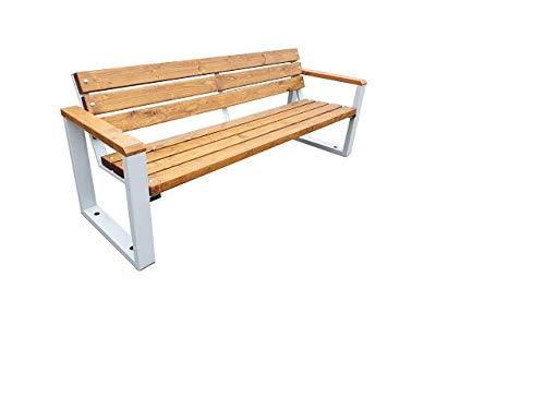 Primario Grande Design Sitzbank, für Garten, Stadt oder Grünflächen im Park, Robust, Massiv und Wetterfest, ausgeführt aus Holz und verzinkter Stahl, Verschiedene Größen und Farben. (180)