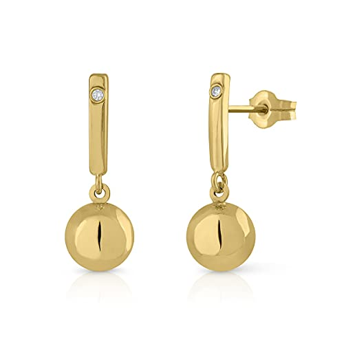 Women's Sterling Gold Certified Earrings with Ball Pressure Closure, Measurements: 7 x 20 mm (1-5114)