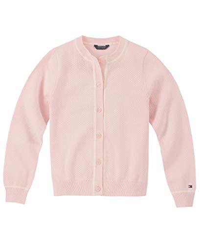 Tommy Hilfiger Girls' New Core Lightweight Popcorn Stitch Cardigan Sweater, Blushing Bride, 4T