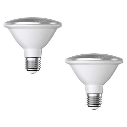 ledscom.de E27 PAR30 Bombilla reflectora LED 12W 1100lm blanco cálido también resistente a la intemperie con cuello corto, 2pcs.