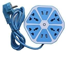 Gadgets Appliances Electrical Extension Cord 4 Surge Power Socket with 4 USB Port for Computer with 6 ft. Wire Protector Spike Strip Guard Hexagon (Multicolour)