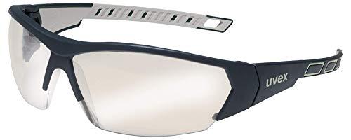 uvex i-Works veiligheidsbril - krasbestendig en beslagvrij werkbril - 100% UV-400-bescherming - zwart/zilver gespiegeld