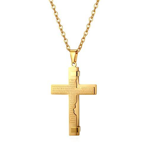 JewelryWe Herren Halskette, Edelstahl Englisch Bibel Gebet Kreuz Anhänger mit 55cm Kette, Gold, Ostern Geschenk