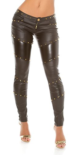 Koucla Extravagante Lederlook Hose mit Nieten - Wetlook Pants Skinny Lederhose - Schwarz Gr. XS - XL (M)