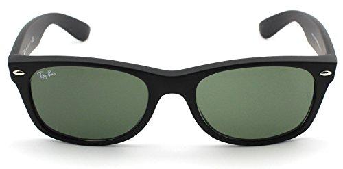 Ray-Ban Gafas de sol Wayfarer para mujer Rb2132 New Wayfarer, marco de goma negra/lente verde cristal 622, mediano US