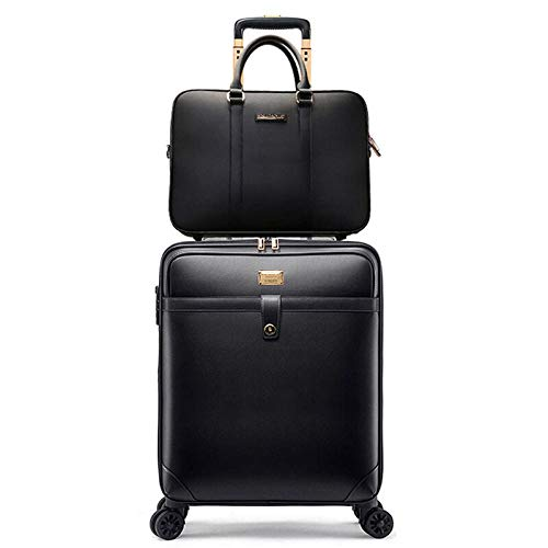 Huiran Valigetta trolley da lavoro valigia universale da uomo valigia imbarco 20 pollici scatola madre-scatola verticale nera box_18 pollici