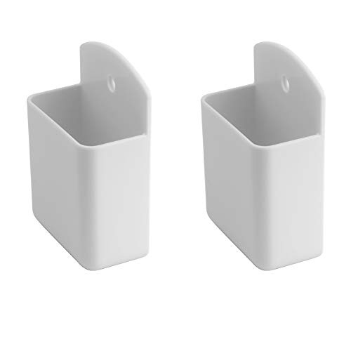 ROOS Remote Control Holder Wall Mount Media Controller Organizer Box for Office Bedroom Parlor Pack of 2 (White)