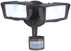 ALL-PRO Outdoor Security MST18920L 180-Degree Motion Activated Twin Head LED Floodlight, Bronze